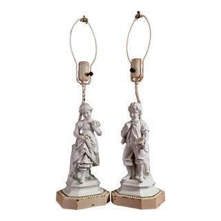 1940s Italian Blanc De Chine Figural Boudior Lamps- a Pair For Sale