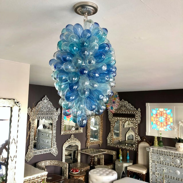 Shades of Blues Handblown Glass Light Fixture For Sale In Los Angeles - Image 6 of 11