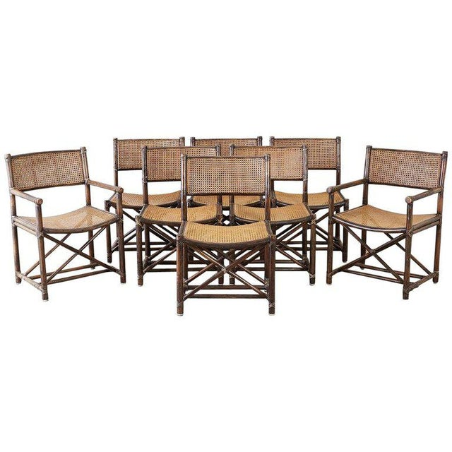 Set of Eight McGuire Bamboo Rattan Cane Dining Chairs For Sale - Image 13 of 13