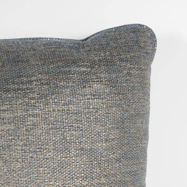 Linen Set of Three Geometric Pillows in a Metallic Woven Linen For Sale - Image 7 of 9