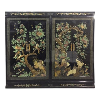 Vintage Chinoiserie Black Lacquer Mother of Pearl Inlay Wardrobe Armoire - Pair Available