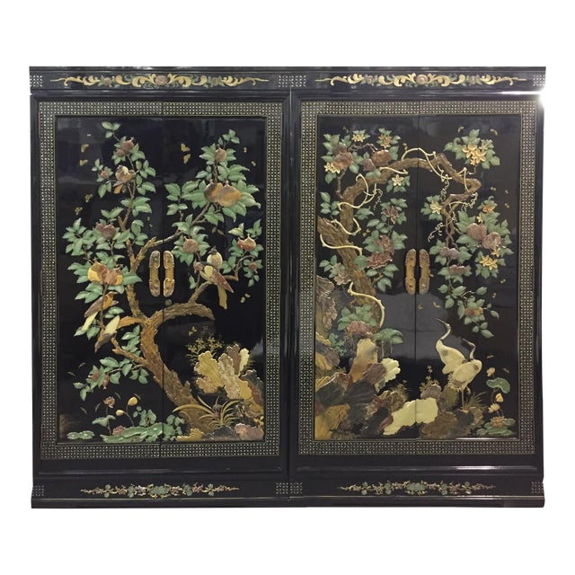 Vintage Chinoiserie Black Lacquer Mother of Pearl Inlay Wardrobe Armoire - Pair Available For Sale