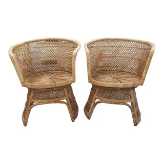 Island Style Barrel Chairs - a Pair For Sale
