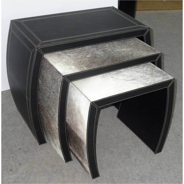 Hair on Black Leather Nesting Tables - Set of 3 - Image 3 of 5
