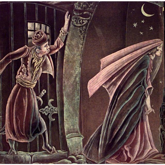 American Art Deco painted velvet wall hanging of Persian man and woman (att: Grant Simon, 1928)