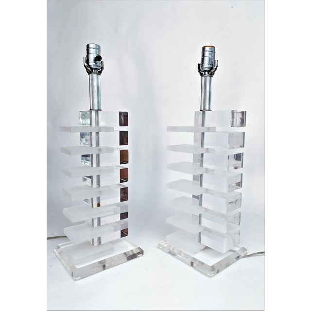 Mid-Century Modern Lucite Stacked Lamps - A Pair - Image 2 of 11