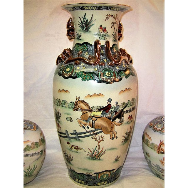 Early 20c Chinese Hunt Scene Floor Vase and Lidded Urns For Sale - Image 11 of 13