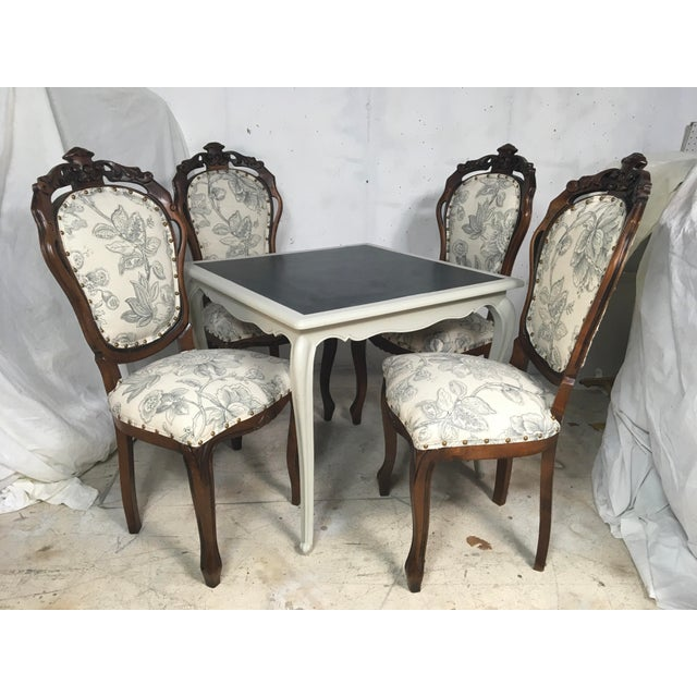 Antique French Game Table and Chairs - Set of 5 - Image 9 of 9