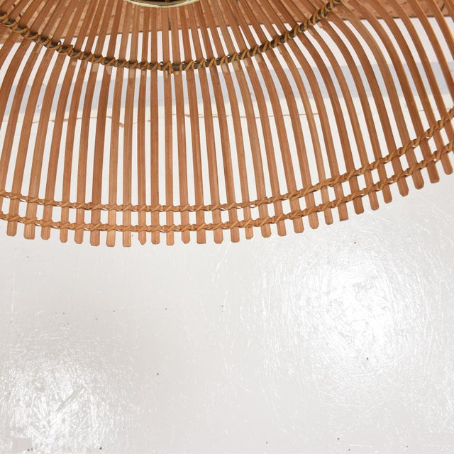 Glass Mid-Century Modern Rattan Pendant Hanging Lamp For Sale - Image 7 of 9