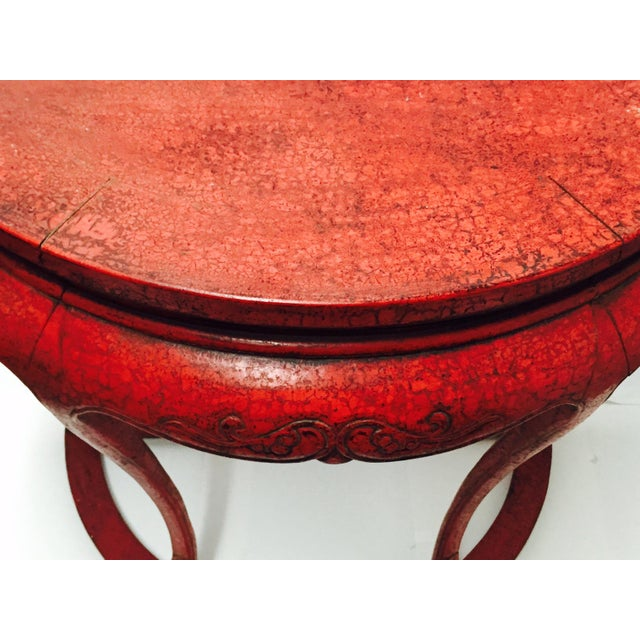 Chinoiserie Red Demilune Console Tables - a Pair - Image 6 of 10