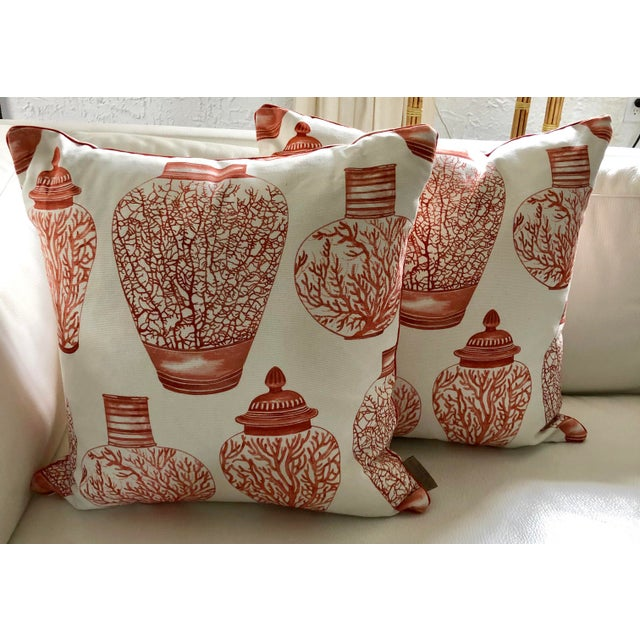 Canvas Ginger Jars & Corals Pillows, Pair For Sale - Image 7 of 7