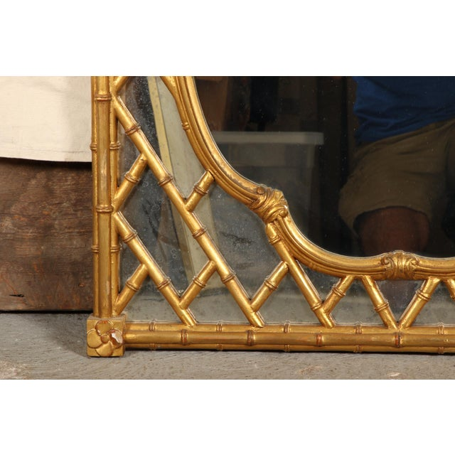 Faux Bamboo Carved and Gilt Mirror For Sale - Image 4 of 7