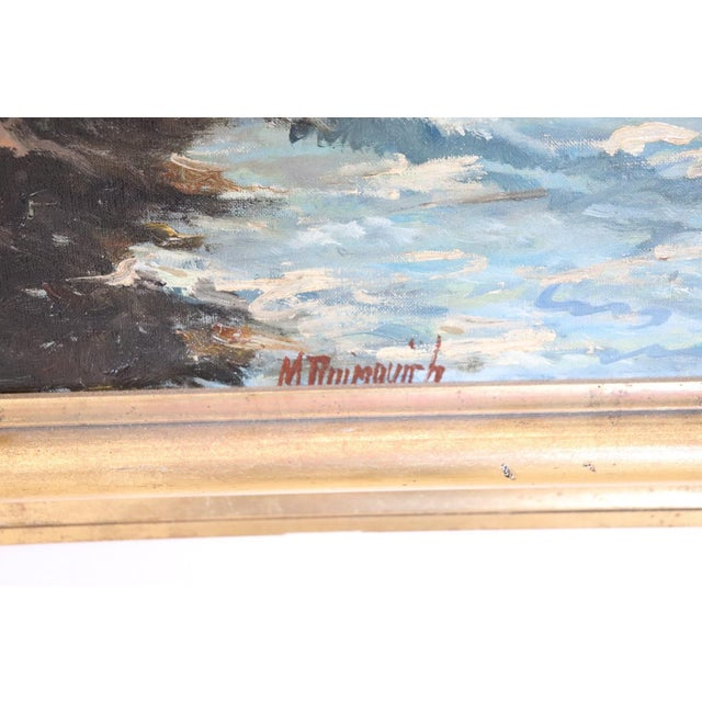 20th Century Oil Painting on Canvas Signed Landscape of the Italian Coast For Sale - Image 4 of 9