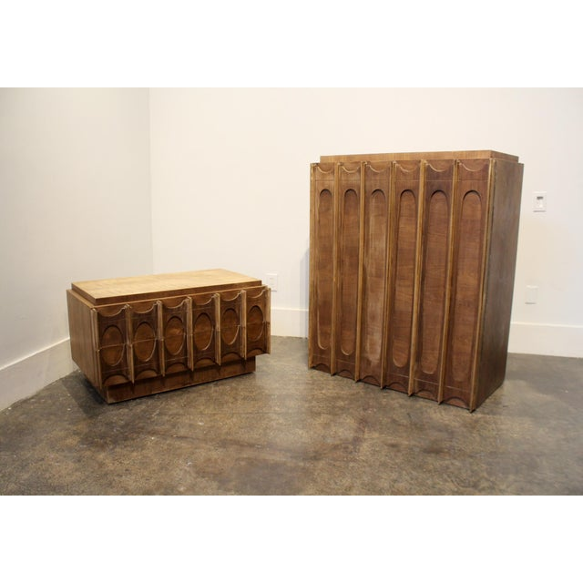 Tan 1970s Brutalist Wardrobe Chest on Chest in Natural Walnut, Brasilia Style For Sale - Image 8 of 12