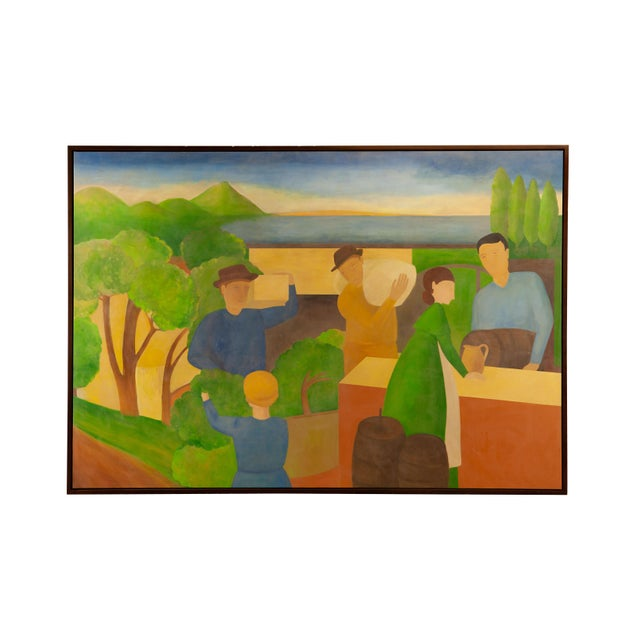 Canvas Large Landscape and Market With Trees and Cyprus Painting by Alisa Garr For Sale - Image 7 of 7