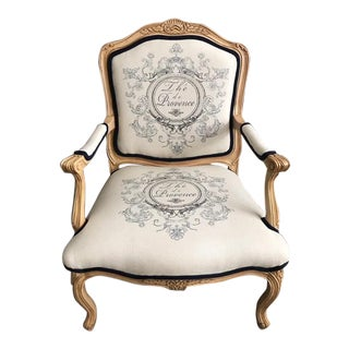 Carved French Style Fauteuil Beech Chair