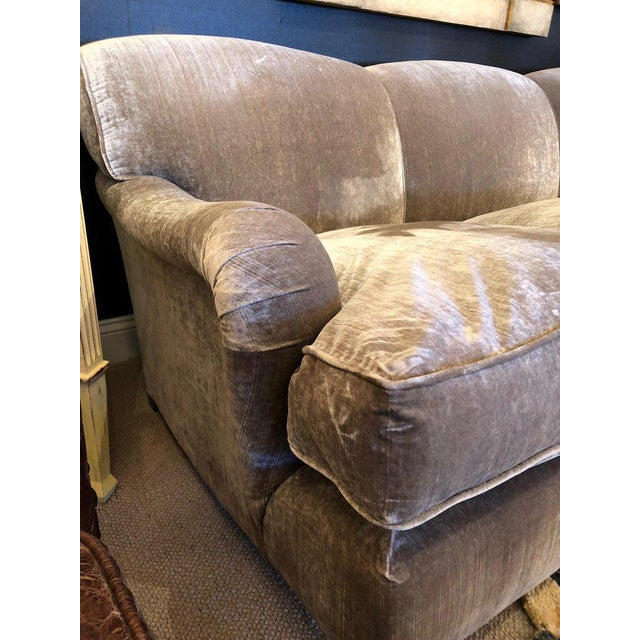 A custom top of the line large George Smith Signature Collection sofa having a fixed cushion back and three goose down...