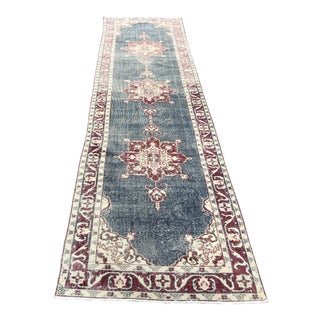 1960s Vintage Turkish Bohemian Hallway Runner- 3′ × 12′2″ For Sale
