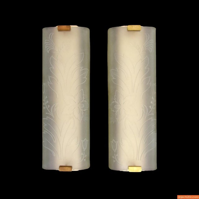 Art Deco 1960s Mid-Century Modern Brass and Glass Sconces - a Pair For Sale - Image 3 of 8