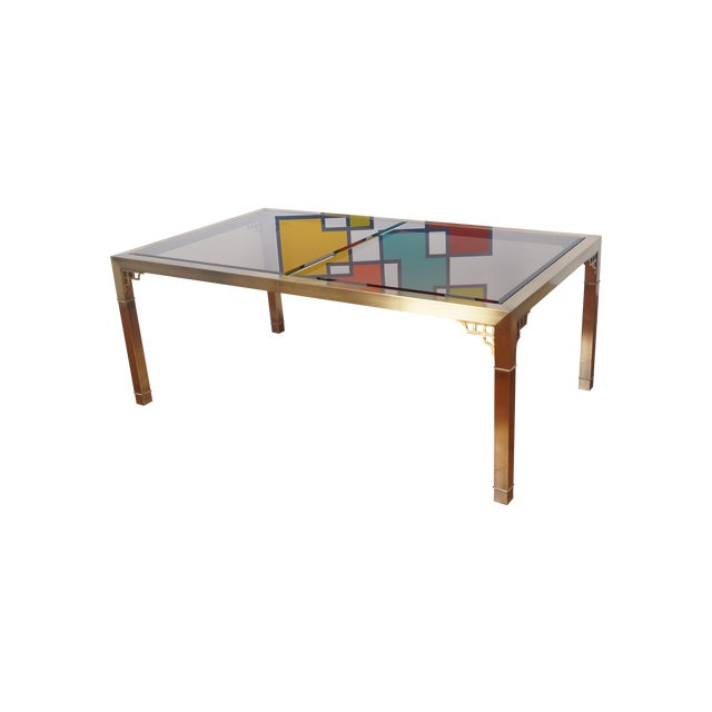 Vintage Mastercraft Brass & Glass Dining Table - Image 1 of 7