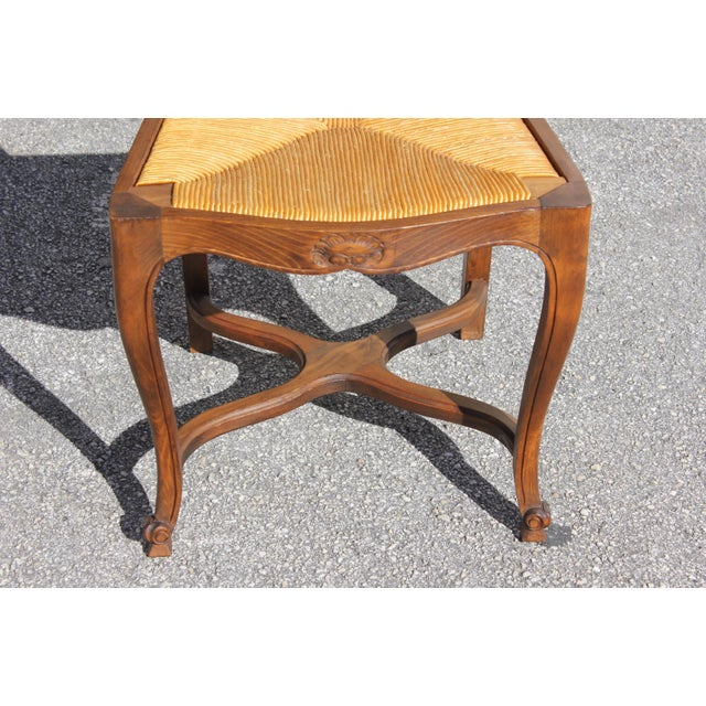 1910s Vintage French Country Rush Seat Solid Walnut Dining Chairs- Set of 6 For Sale - Image 10 of 13