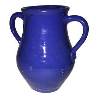 Glazed Ceramic Blue Jug For Sale