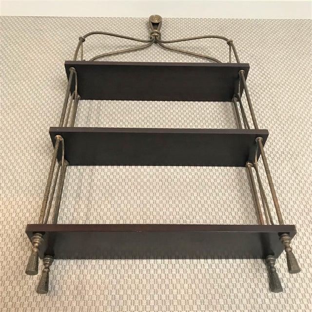 Late 20th Century Vintage Modernist Gilt Metal & Mahogany Hanging Wall Shelf For Sale - Image 10 of 13