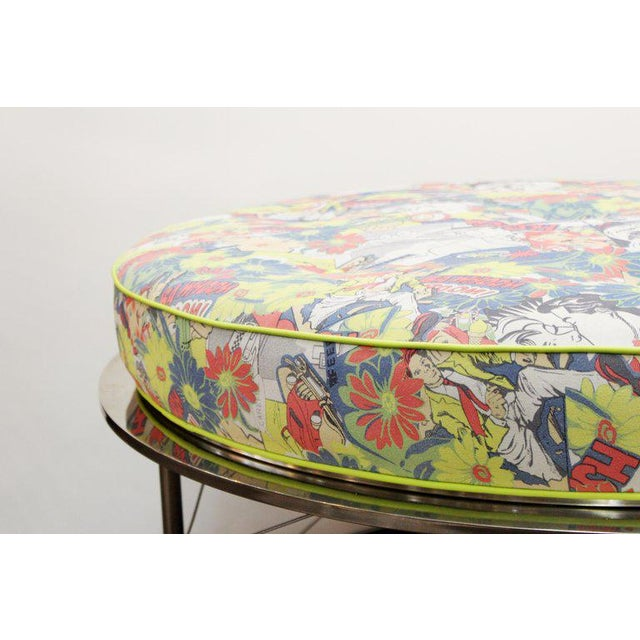 Mid Century Vintage Chrome Frame Ottoman With Pop Art Embossed Leather Upholstery For Sale In New York - Image 6 of 10