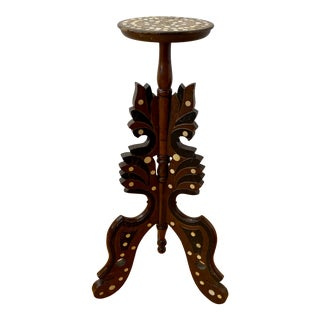 Mid Century Anglo Indian Plant Stand With Shell Inlay For Sale