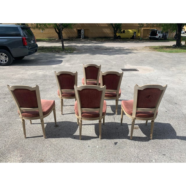 Wood 1910s Vintage French Louis XVl Solid Mahogany Dining Chairs - Set of 6 For Sale - Image 7 of 13