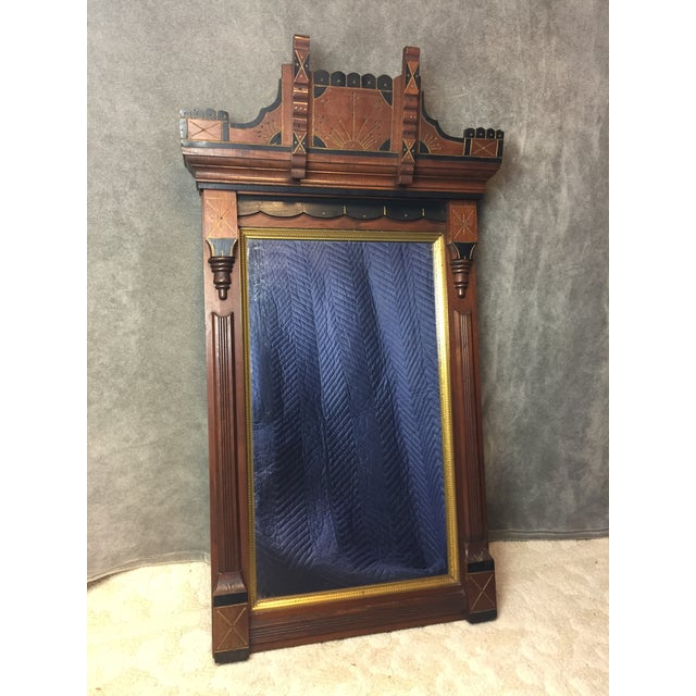 ANTIQUE 19th CENTURY EASTLAKE WALL MIRROR. Mirror is in excellent condition. Glass and wood has no chips or cracks. The...