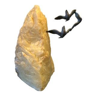 Brutalist Seagulls in Flight Bronze and Quartz Sculpture For Sale