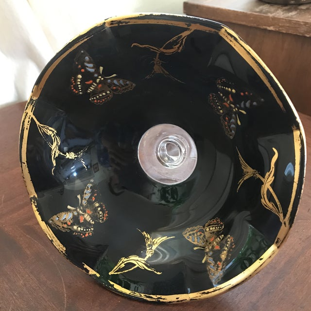Vintage Glass Butterfly Decor Bowl For Sale - Image 9 of 11