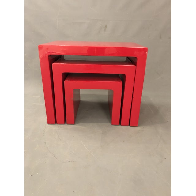 Mid Century Glossy Lacquered Red Waterfall End Tables- 3 Pieces For Sale In New York - Image 6 of 13