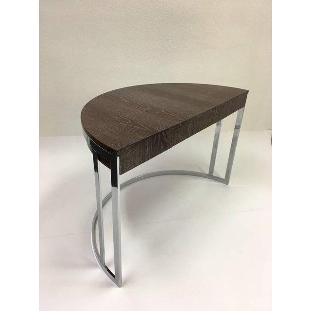 Cerused Oak and Chrome Demilune Desk by Milo Baughman - Image 4 of 11