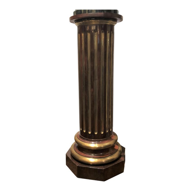 Estate Mahogany and Brass Pedestal. For Sale