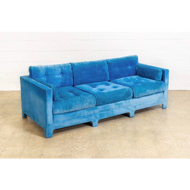 Mid Century Blue Velvet Upholstered Three-Seat Sofa Couch 1970s For Sale - Image 11 of 11