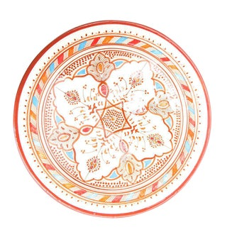 Medium Moroccan Hand Painted Brown Ceramic Plate