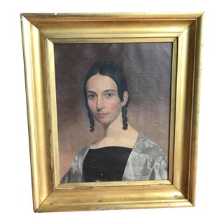 Early 19th Century Antique English Portrait of Young Woman Painting For Sale