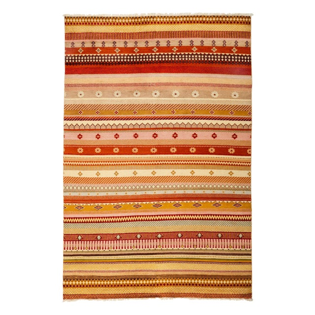 """Striped Hand Knotted Area Rug - 5'1"""" X 7'6"""" - Image 1 of 3"""