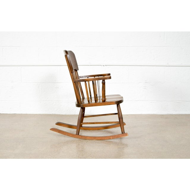 Antique Turn-of-the-Century Handcrafted Spindle Back Child's Wooden Rocking Chair For Sale - Image 5 of 8