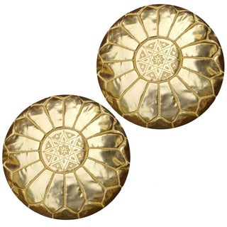 Gold Moroccan Unstuffed Ottomans - Pair For Sale
