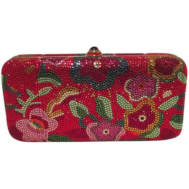 Judith Leiber Red Swarovski Crystal Floral Print Minaudiere Evening Bag Clutch For Sale - Image 9 of 9