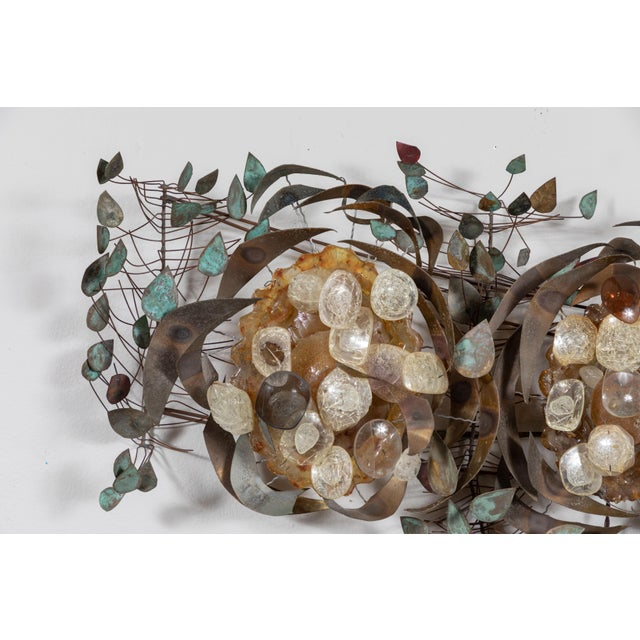 Quirky recycled eye glasses and copper leaves configured into a wall light or hanging sculpture. Folk artist unknown.