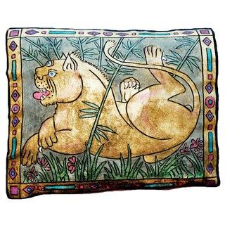 Lioness Silk Velvet Pillow For Sale