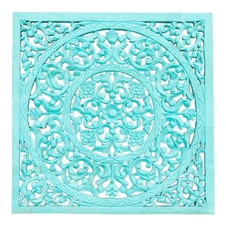 Aqua Blue Small Lotus Panel For Sale