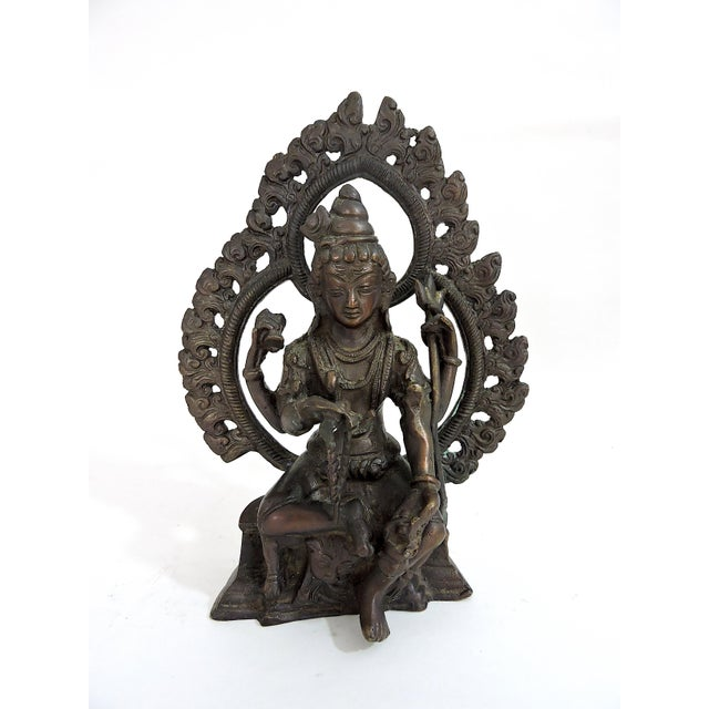 Metal 20th Century Antique Bronze Hindu Statue of Shiva, Seated For Sale - Image 7 of 7