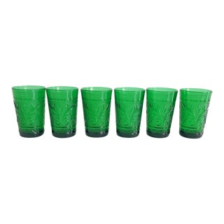 Set of Six Vintage 1960s Kelly Green Juice Glasses