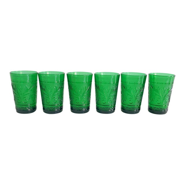 Set of Six Vintage 1960s Kelly Green Juice Glasses For Sale