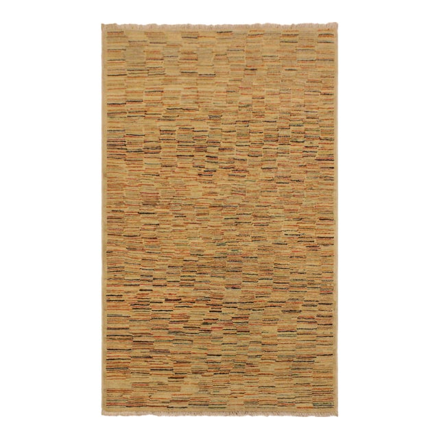 Gabbeh Peshawar Blair Tan/Rust Hand-Knotted Wool Rug -3'2 X 5'0 For Sale